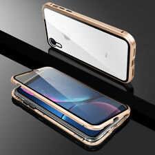 iPhone 11 Pro XR XS Max X 7 8 Plus Metal Magnetic Adsorption Case Tempered Glass
