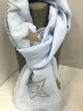 On Trend Star Scarf Pastel Blue with Gold Glitter Stars at either end soft feel