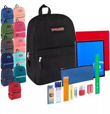 Lot Of 24 Backpacks Preassembled 17 Inch & 20 Piece School Supply Kit 12 Colors