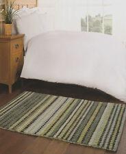 Woodland Luxury Wool, Viscose, Green, Duck Egg Wool Striped Modern Rug 80x150cm