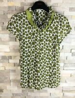 Boden Ladies Size 8 Green Floral Short Sleeve T Shirt Top Blouse