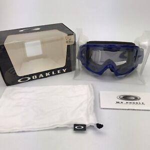 Oakley MX Goggles Blue White O-Frame Clear Lens