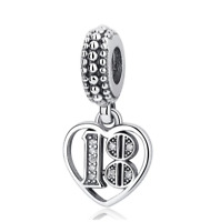 Genuine Silver 18 Years Of Love Happy 18th Birthday Pendant Charm + Pandora bag