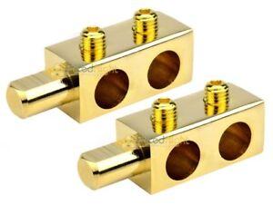 2 Audiopipe 24k Gold 0 Gauge Power Distribution Block Car Audio Dual Amp Dual