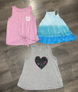 Justice Lot of 3 Girls Tank Tops Size 14/16 Gray, Pink & White And Blue Tie Dye