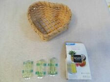 Vintage Heart Shaped Reed Woven Basket + Other Item