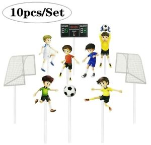 10pcs Football cake topper soccer game player goal cupcake toppers