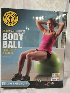 """Gold's Gym 55 cm Body Ball Green Exercise 5' 3"""" or under 250 lb Limit"""