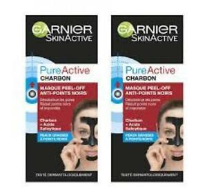 Garnier Pure Active Charbon Masque Peel-Off Anti-Points Noirs 50 ml lot de 2