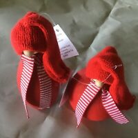 """Two Larssons Tra Santa Tomte Wood Figurine NWT Tranemo Sweden 5"""" and 3.5"""" Tall"""