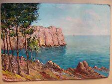 tableau ancien paysage marin par E.Hannoun