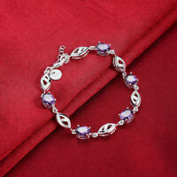 Sterling Silver Tennis bracelet with 6×4 mm Oval-shaped Natural Purple Amethyst