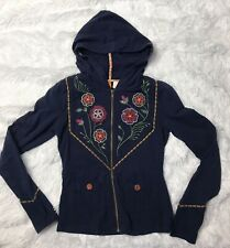 Saturday Sunday Size S Anthro Anthropologie Navy Blue Zip Up Embroidered Hoodie