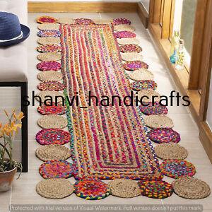 Handmade Area Floor Rug 2x6  Feet Natural Jute Cotton Braided Rectangle Rag Rugs