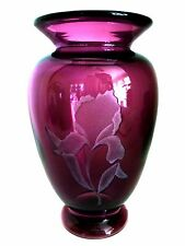 Fenton Amethyst Purple Iris Vase Sand Carved Art Glass 6.75 inches