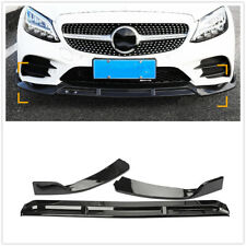 Front Bumper Lip Spoiler For BENZ C Class W205 2019 2020 2021 C43 C300 Black DN