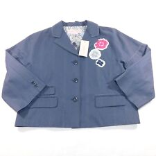 NWT Max Azria Cotton Linen Blend Silk Lined Pinstripe Blazer Jacket, Large L