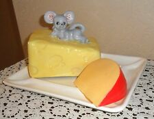 LARGE RARE MID CENTURY VINTAGE MOUSE COVERED CHEESE DISH WITH FAUX CHEESE