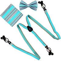 New in box Men/'s Convertible Elastic Strap Suspender/_Bowtie Hankie Aqua Green