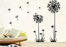 Dandelion Flowers Black Wall Art Decal Stickers Home Living Room Decor DIY NT5Z