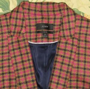 J CREW Parke Brown Pink Houndstooth Blazer Jacket In English Wool 16