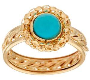 S 8 Natural Turquoise Gemstone Popcorn Rope Border Band Ring 14K Yellow Gold QVC