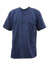 Grandad Short Sleeve Striped Casual Shirts & Tops for Men