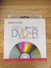 New Memorex DVD+R DL Dual Layer 10PK 8X 8.5GB 240min sealed