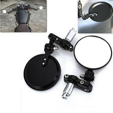"2 Pcs Motorcycle CNC Aluminum 7/8"" Handle Bar End Rear View Side Round Mirrors"