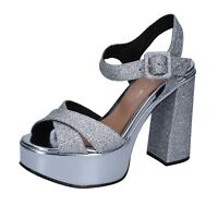 scarpe donna OLGA RUBINI 35 EU sandali argento glitter BS116-35