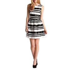 Zibi London Black Striped Black & White Ribbon Dress Size UK 14 Box4687 G