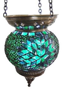 Crushed Glass Medium Turkish Moroccan Mosaic Hanging Candle Holder Hand Made