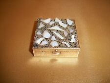 Vintage Brass & Mother of Pearl With Glass Beads Square Divided Pill Box