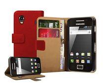 Red Billetera Cuero Estuche Cubierta para Samsung Galaxy ACE GT-S5830/S5830i