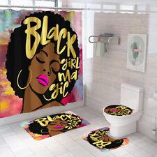 Black Girl Shower Curtain Bathroom Rug Set Bath Mat Non-Slip Toilet Lid Cover
