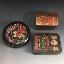 3 Vintage Antique Tins Tin Cans Jack Daniels , Russian Tea