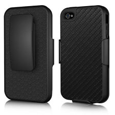 For iPhone 4 4S COMBO Belt Clip Holster Hard Case Cover Stand Racing Fiber