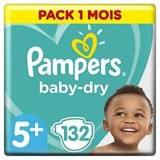 132 couches Pampers Baby Dry T.5 Junior Plus 13-27 kg
