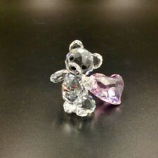 New Swarovski Crystal Kris Bear Figurine, Pink Dragging Heart, With Box and Tag