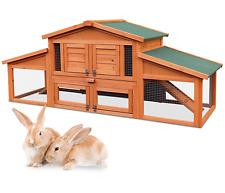 "Merax 70"" Wooden Rabbit Hutch Chicken Coop House Cage Small Animals w/ 2 ramp"