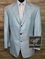 Recent Hickey Freeman Men's Silk Linen Wool Blue Blazer Sport Coat Jacket 44R