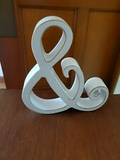 7 3/4 inch white wood Ampersand sits or hang