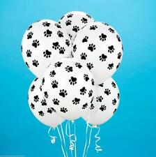 "(6) Quantity Paw Print Black White Dog Cat Animal Latex 11"" Balloon Party Decor"