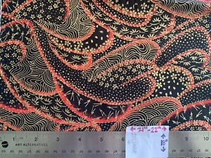 """LOOK! New Made In Japan FQ 22""""x18"""" - Red Wavy Lines w Gold Japanese Designs NICE"""