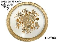 "MCM Vtg Retro Toile Tole' Toleware Floral Gold Serving Tray Signed Anatole 19.8"""