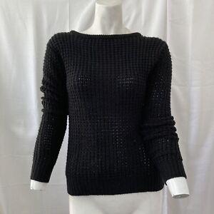 Ambiance Apparel Criss Cross Back Women Black Knit Sweater Small