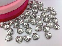 25 X 12 Mm Plateado acrílico corazón dos agujero botón De Plástico Cristal Vidrio f94
