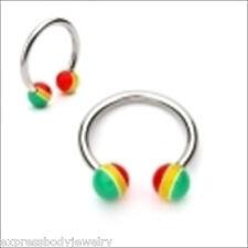 "14g  1/2"" Pair Horseshoe  Rasta Theme Ball Ear Nipple Lip 316L Surgical Steel"
