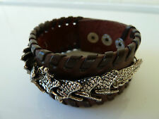 Mens/Womens leather Biker/Skull/Gothic Dragon BROWN bracelet/wrist band, NWT