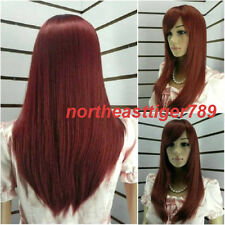 Hot Sell New Fashion Long Dark Red Straight Women's Lady's Hair Wig Wigs + Cap